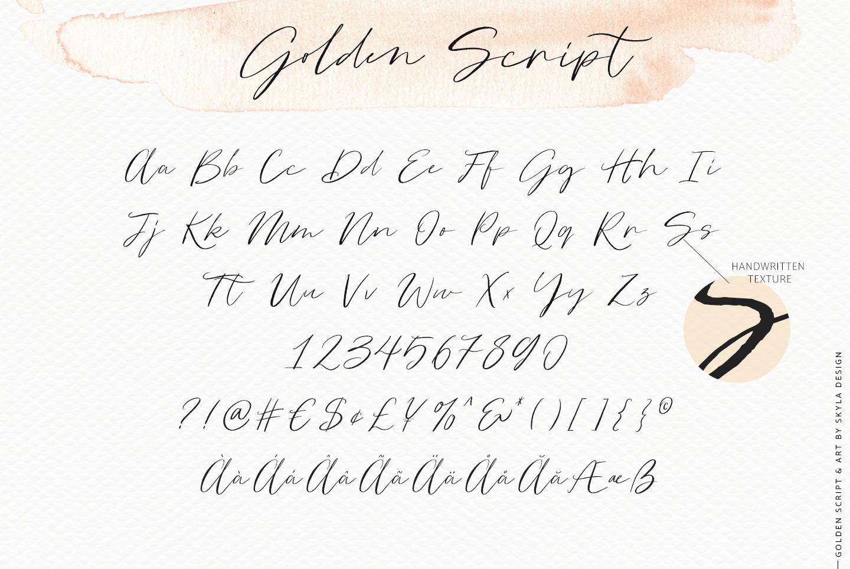 Golden, a romantic wedding script font example image 11