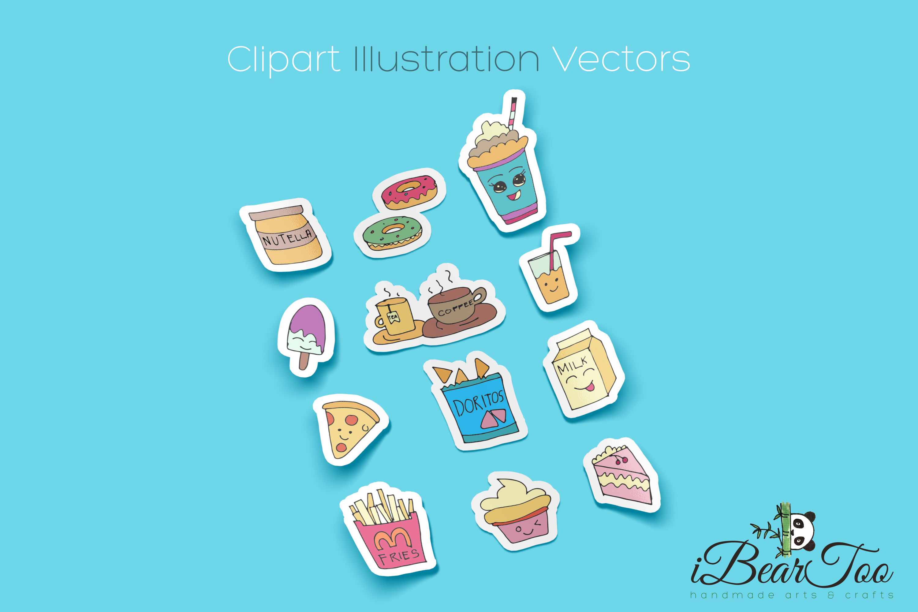 Food SVG Bundle Color Clipart Doodle Drawing Vector Cut File example image 2