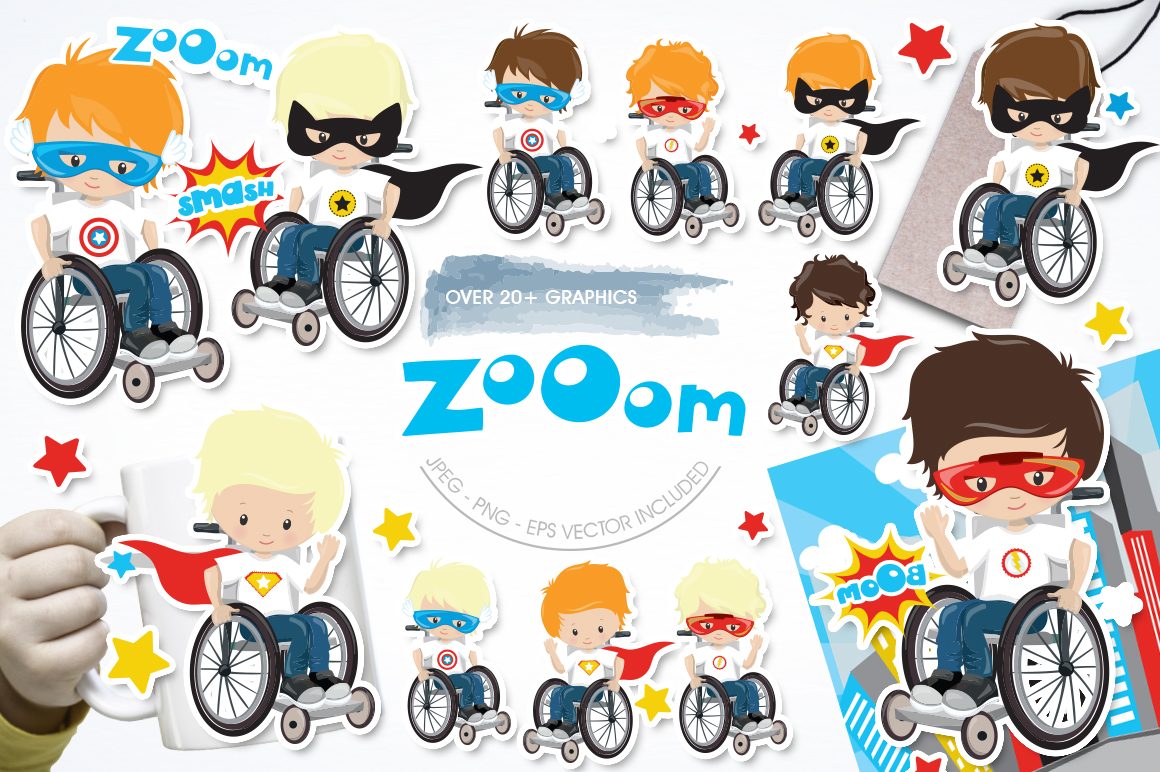 Kids in wheelchair graphic and illustrations example image 1