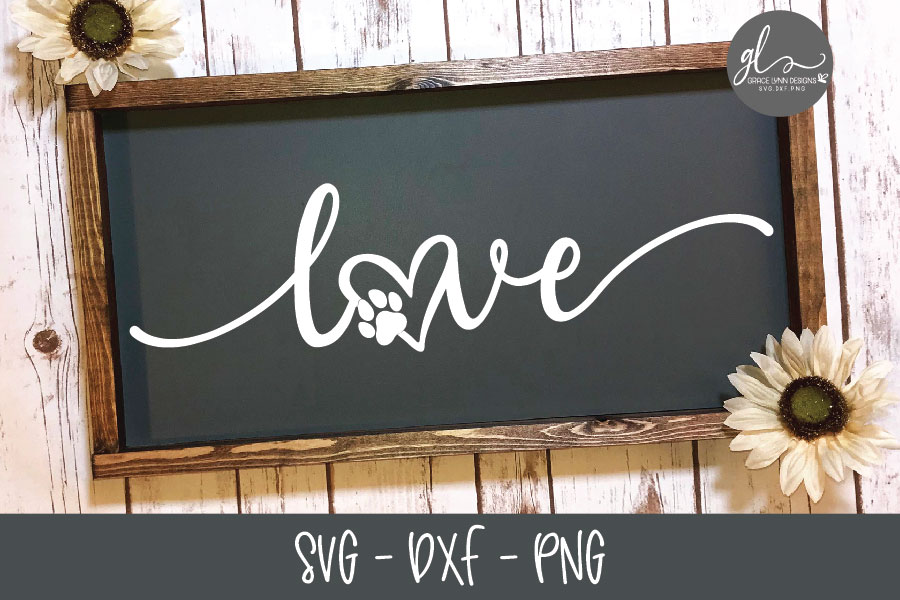 Love - Paw Print - SVG Cut File example image 1