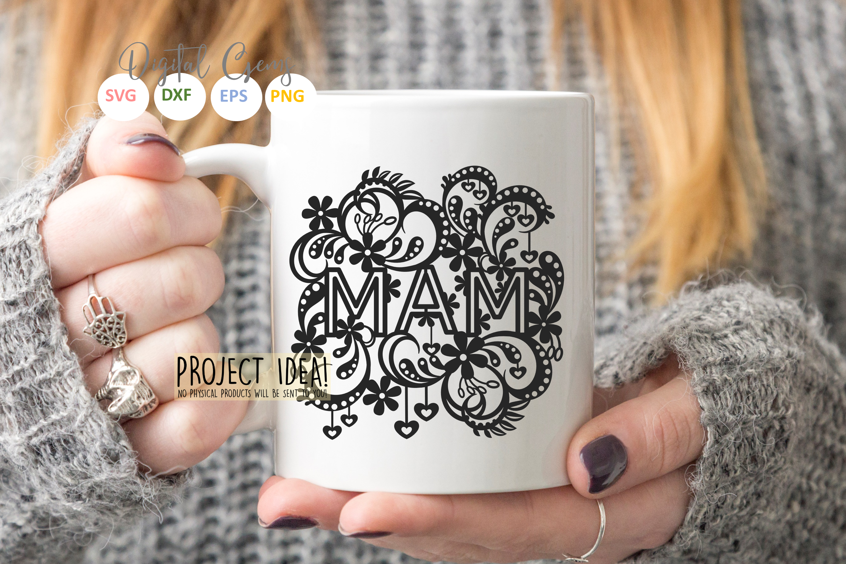 Mam paper cut design SVG / DXF / EPS files example image 3