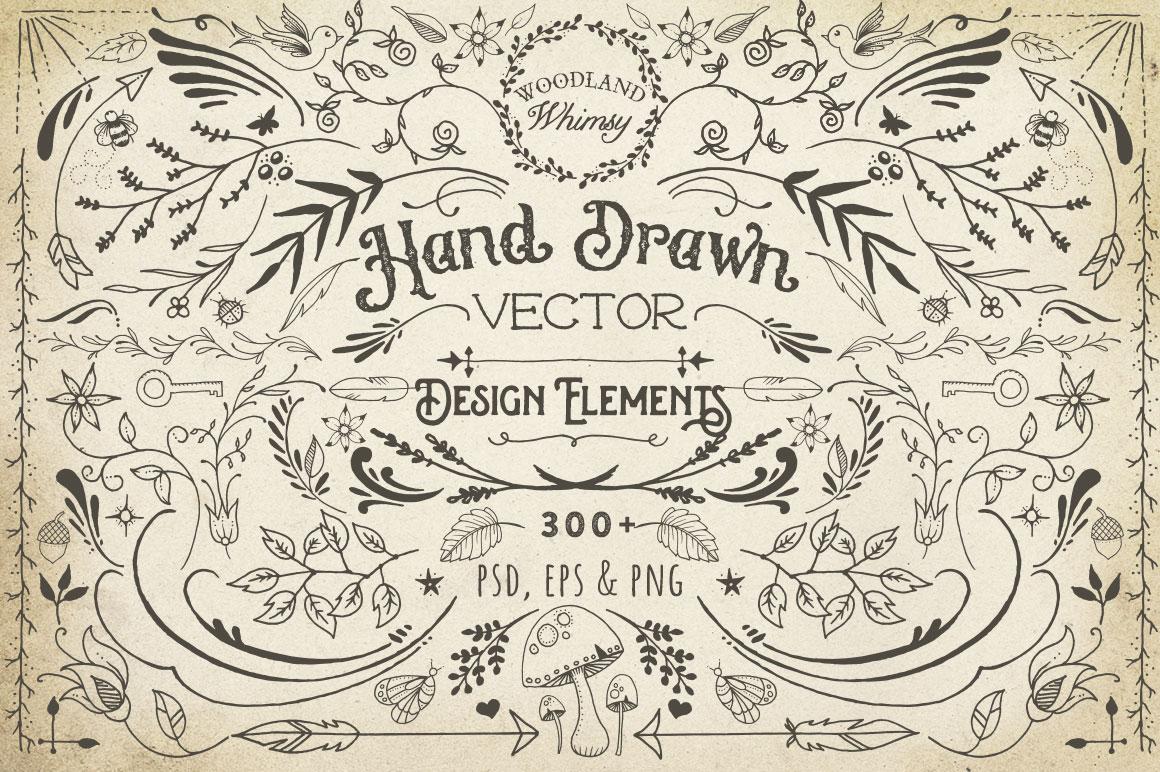 hand drawn vector design elements by av design bundles