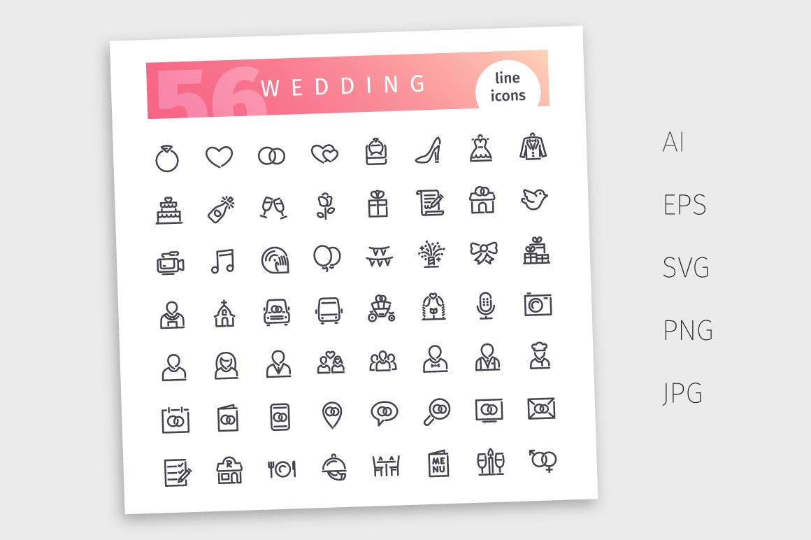 Wedding Line Icons Set example image 4