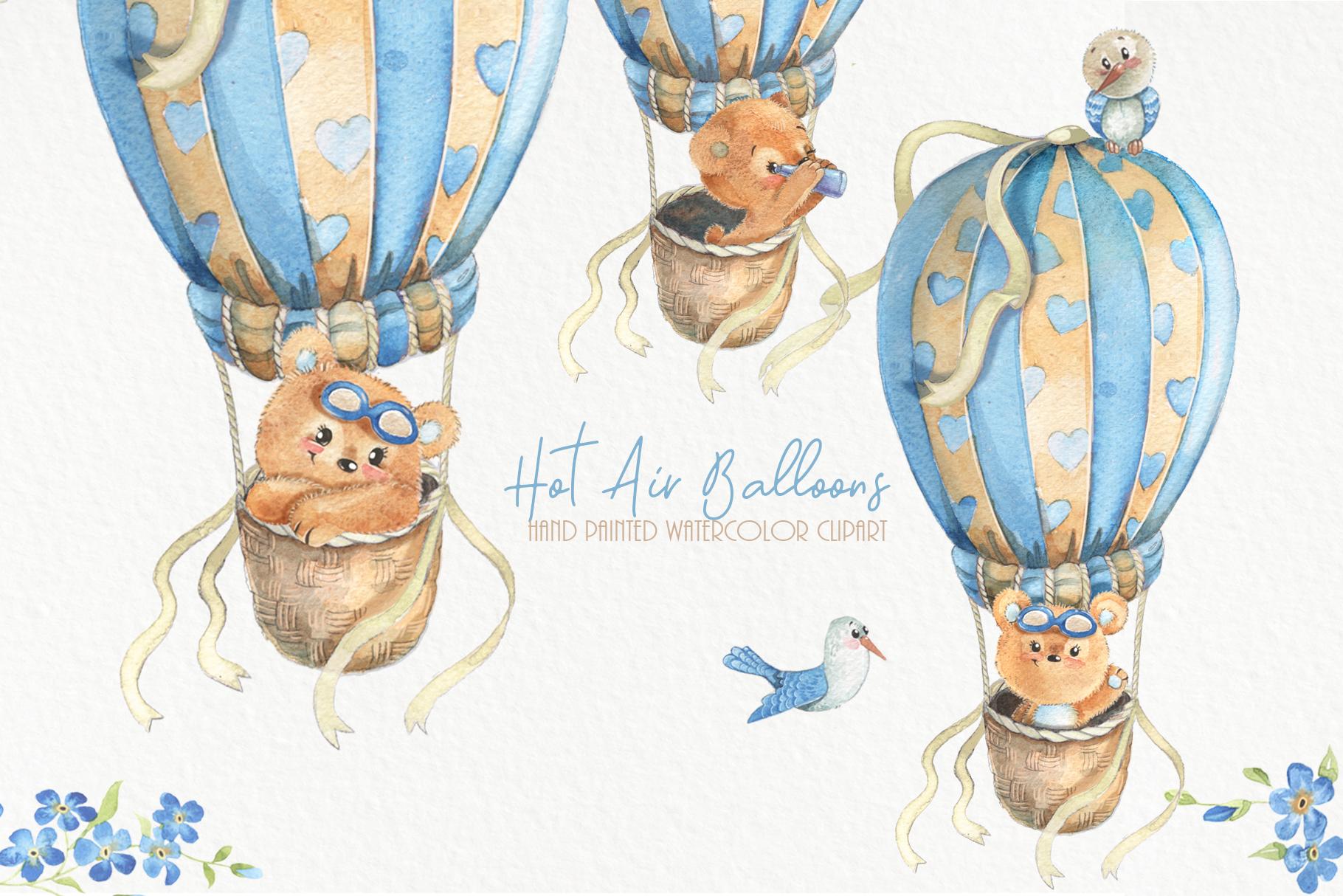 Hot air balloons clipart Cute watercolor bear clip art. Baby example image 1