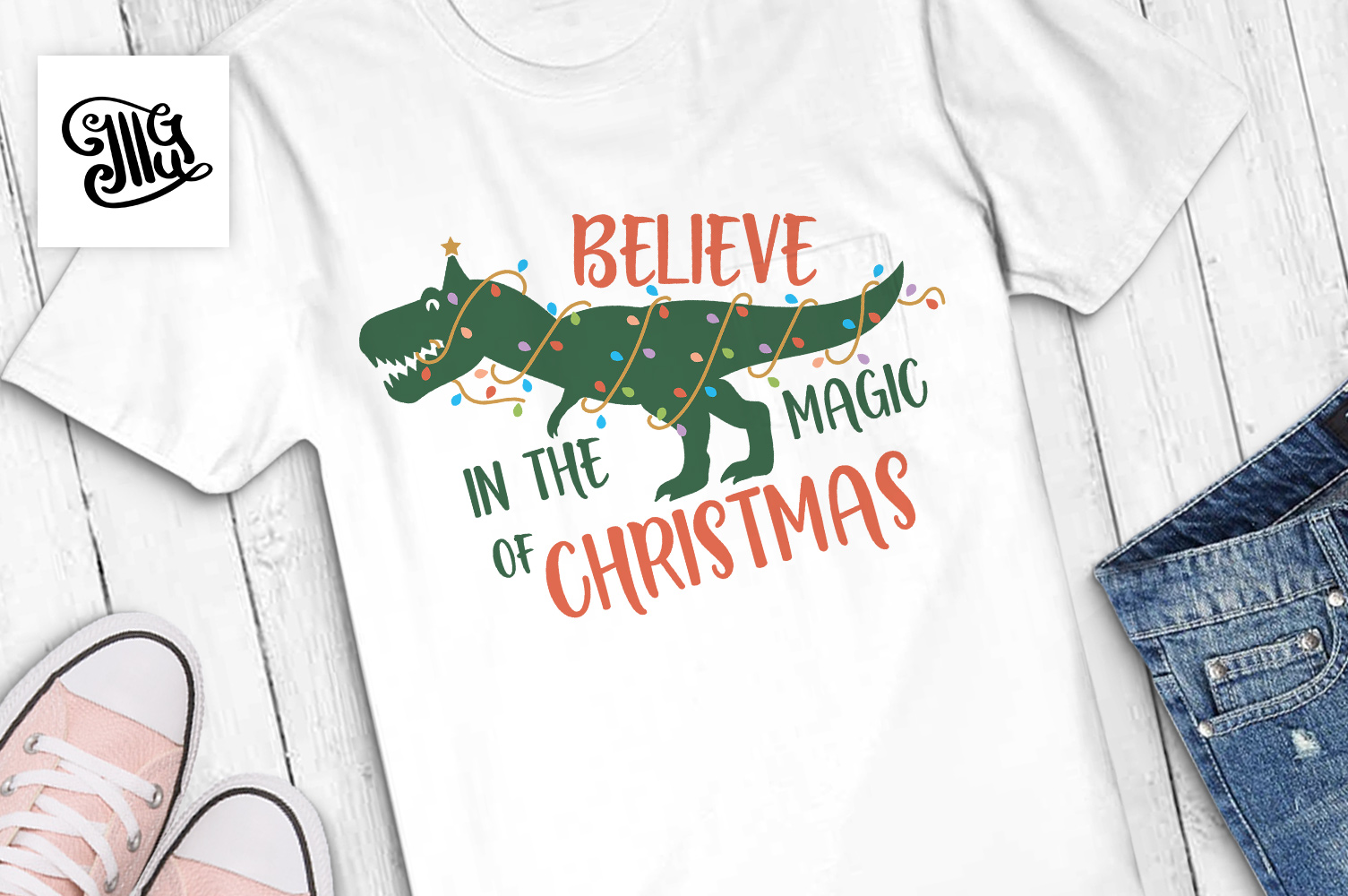 Believe in the magic of Christmas - dinosaur for boys example image 1