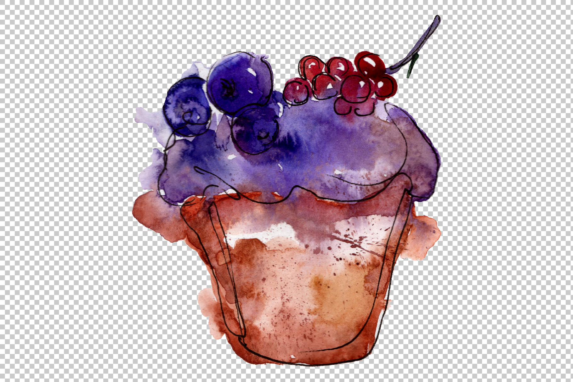 Dessert Friday Watercolor png example image 7