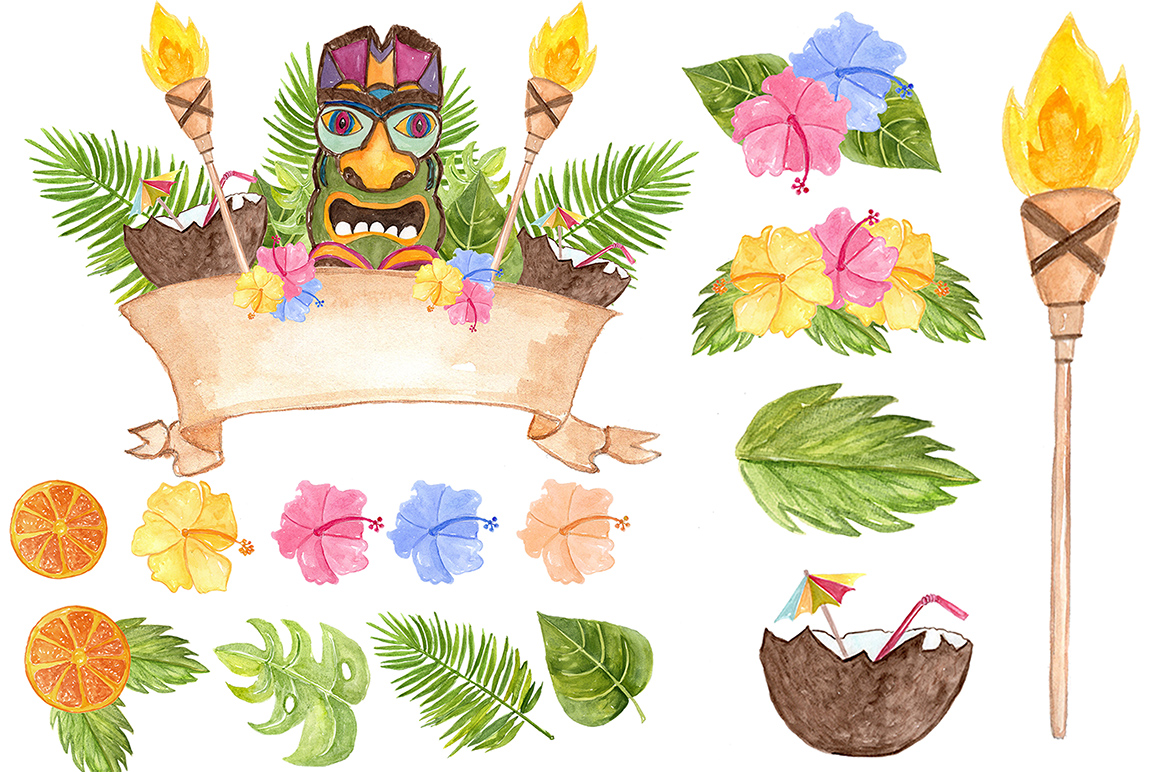Watercolor Hawaii clipart example image 3