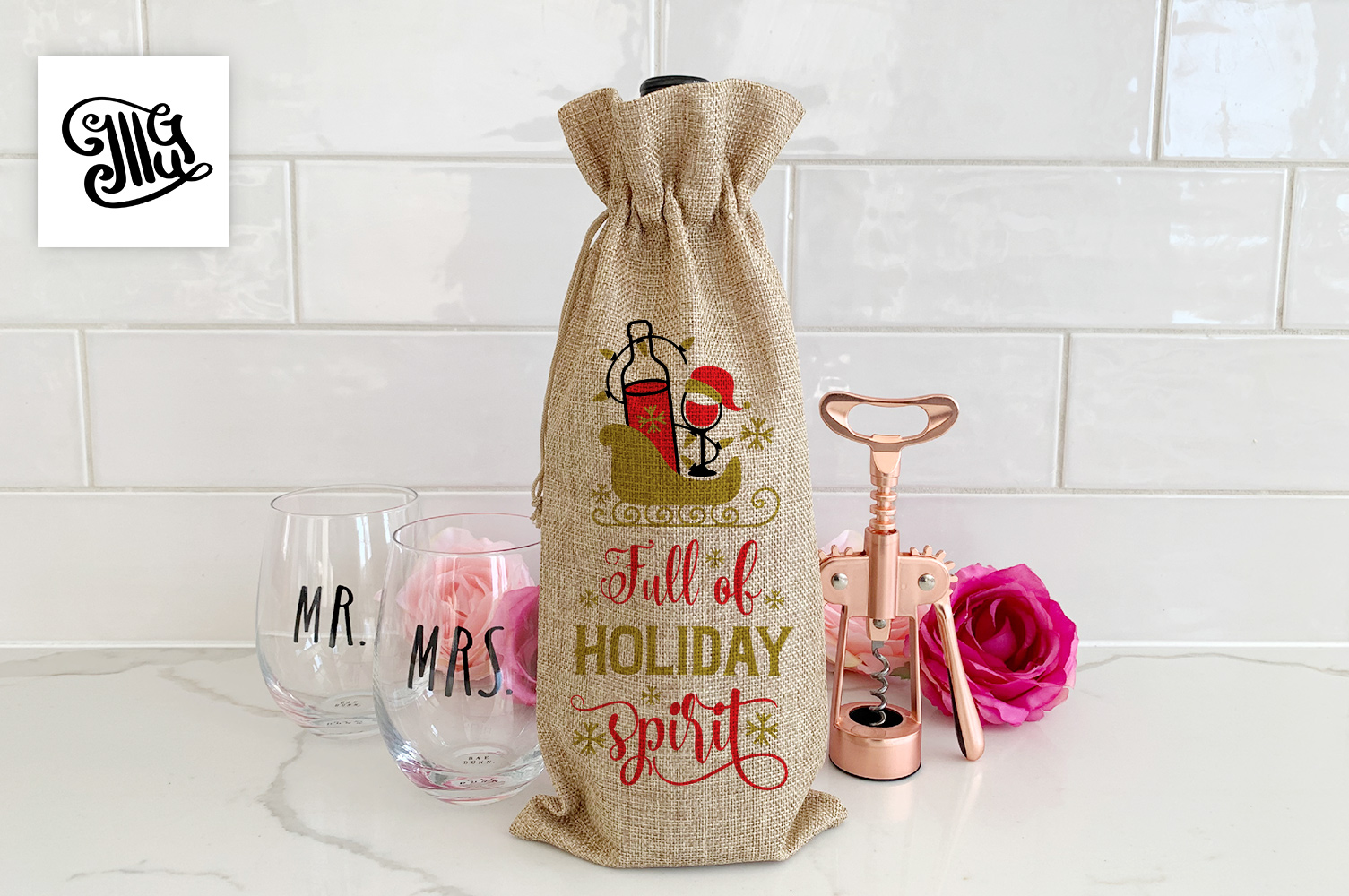 Christmas wine bag svg bundle example image 4