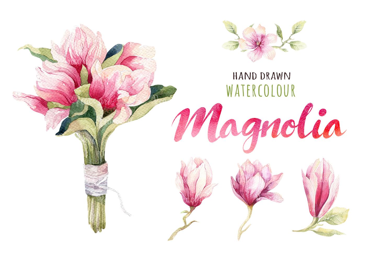 Watercolour magnolia and birds example image 3