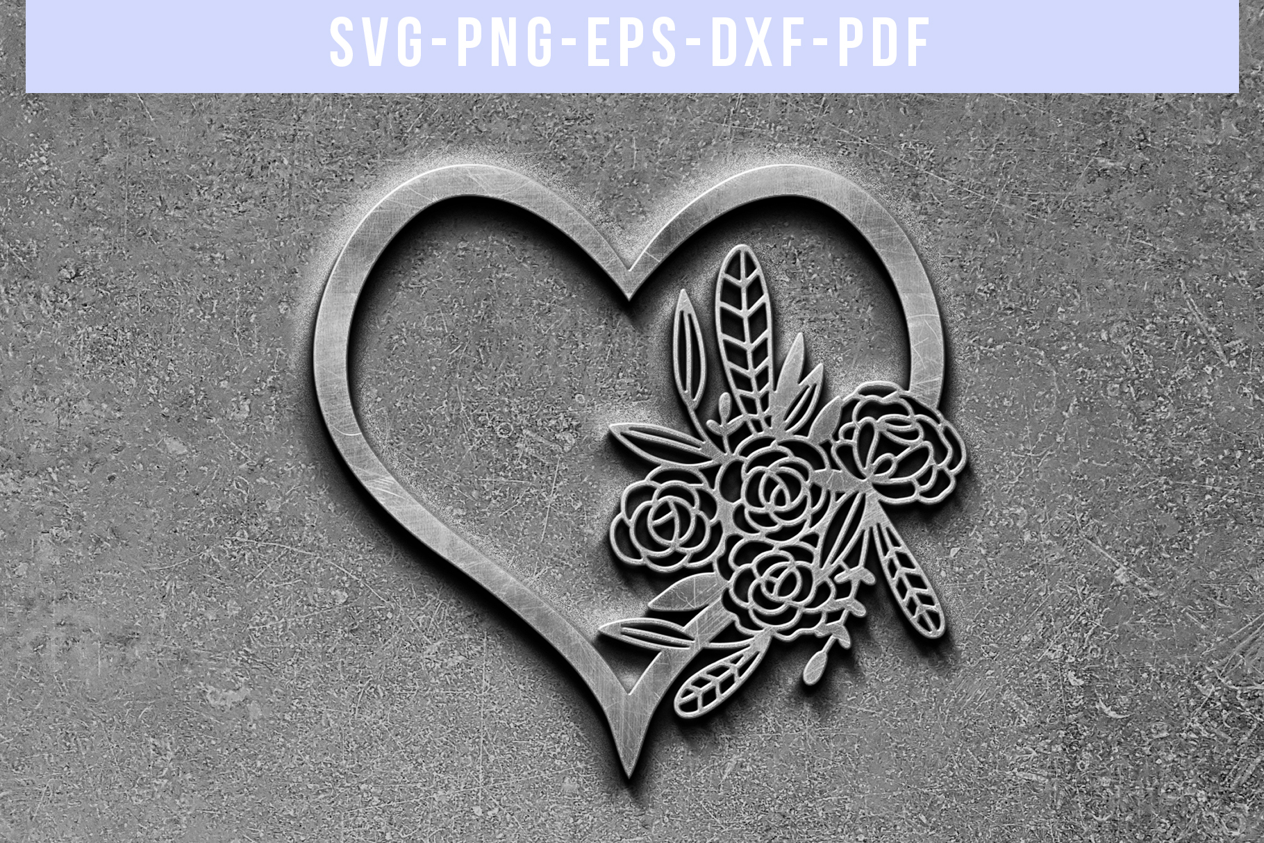 Floral Heart Papercut Template, Wedding Flower Scrapbook SVG example image 5