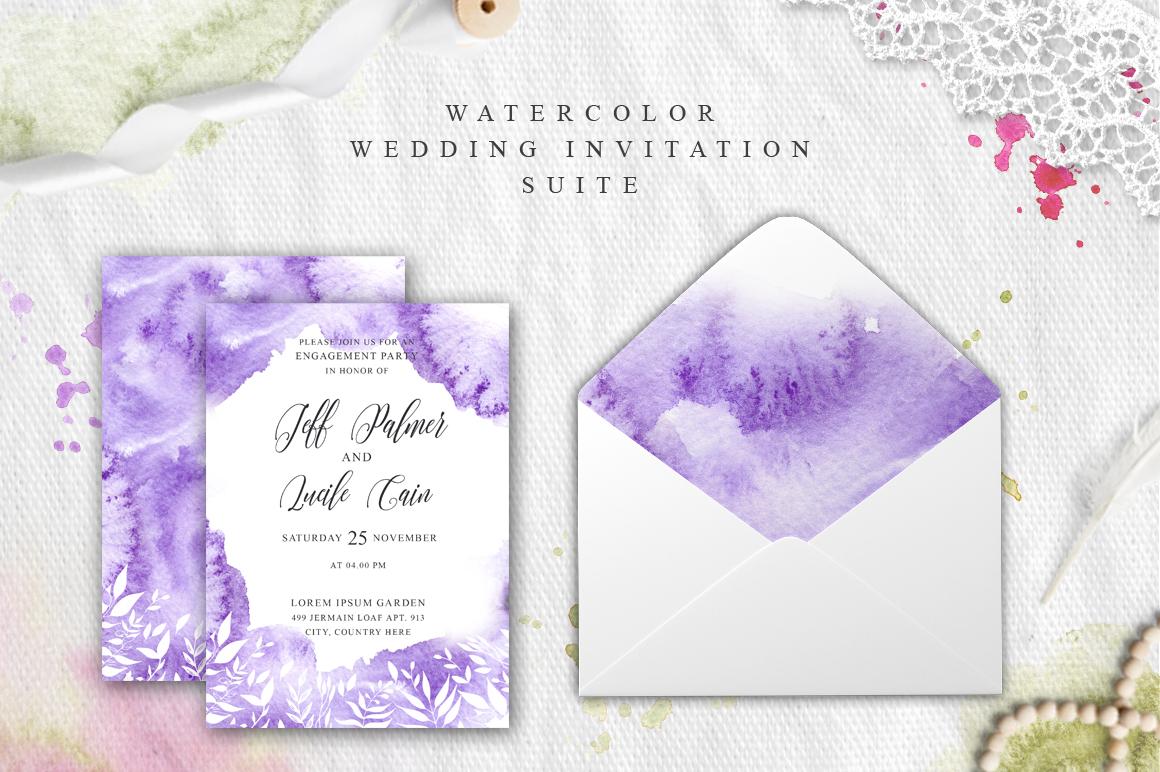 Gentle purple Watercolor Spring Wedding Invitation suite example image 2