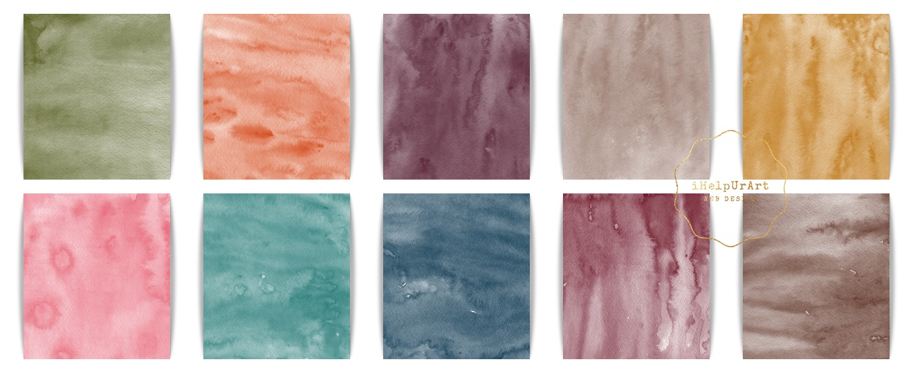 Watercolor Washes Digital Paper - Autumn Colors example image 4