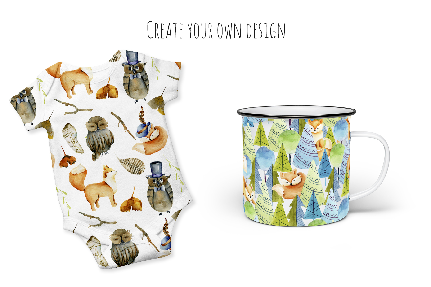 Foxes & Owls. Watercolor clipart. example image 8