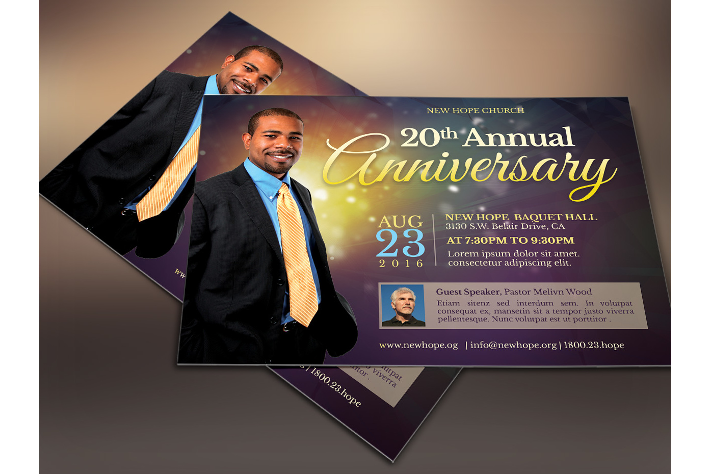 Starlight Pastor Anniversary Flyer Template  example image 2