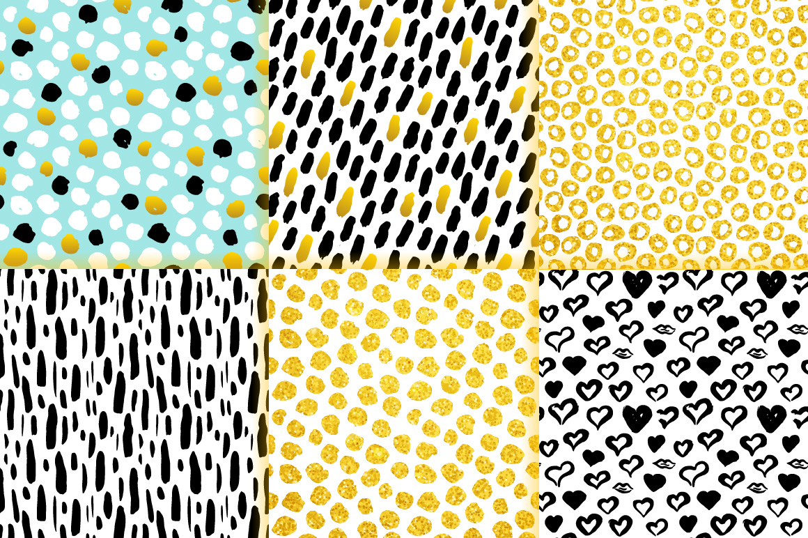 Brush Strokes Trendy Seamless Patterns example image 6