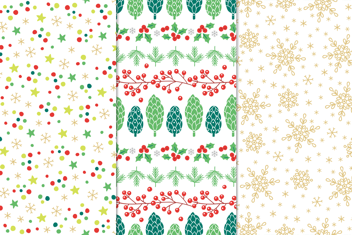 12 Christmas Seamless Patterns example image 5
