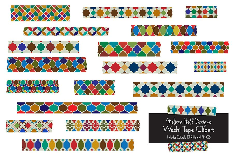 Moroccan Tile Washi Tape Clipart example image 1