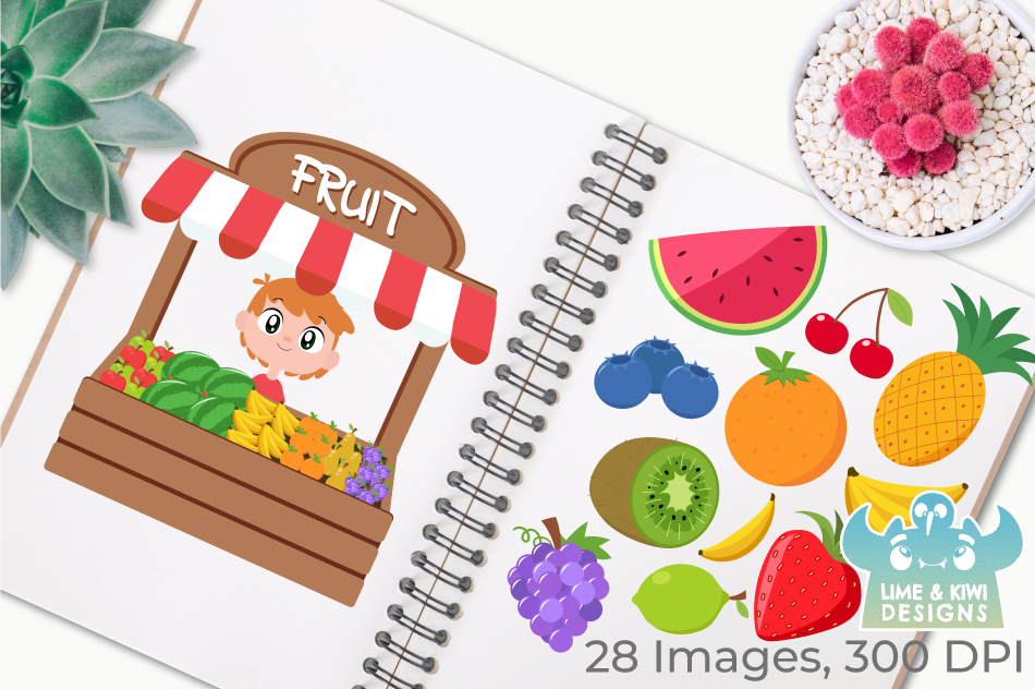 Fruit Stall Clipart, Instant Download Vector Art example image 3