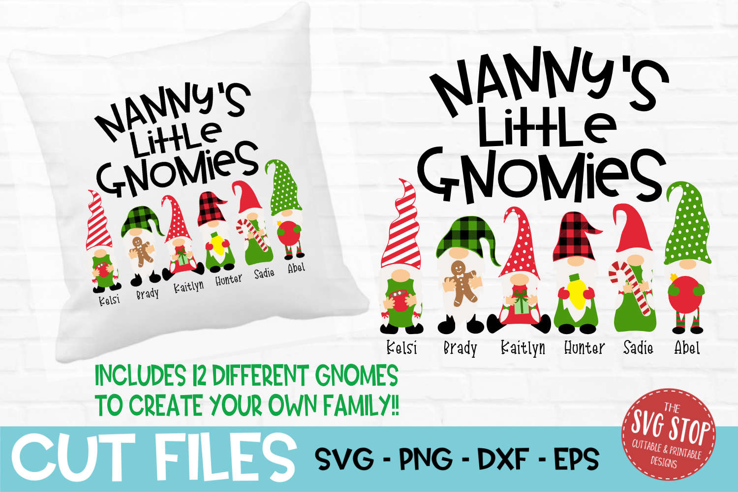 Nanny's Little Gnomies Christmas SVG, PNG, DXF, EPS example image 1