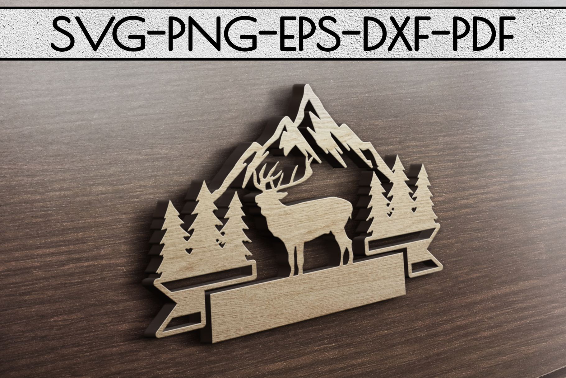 Wild Reindeer Sign Papercut Template, Adventure SVG, DXF PDF example image 3