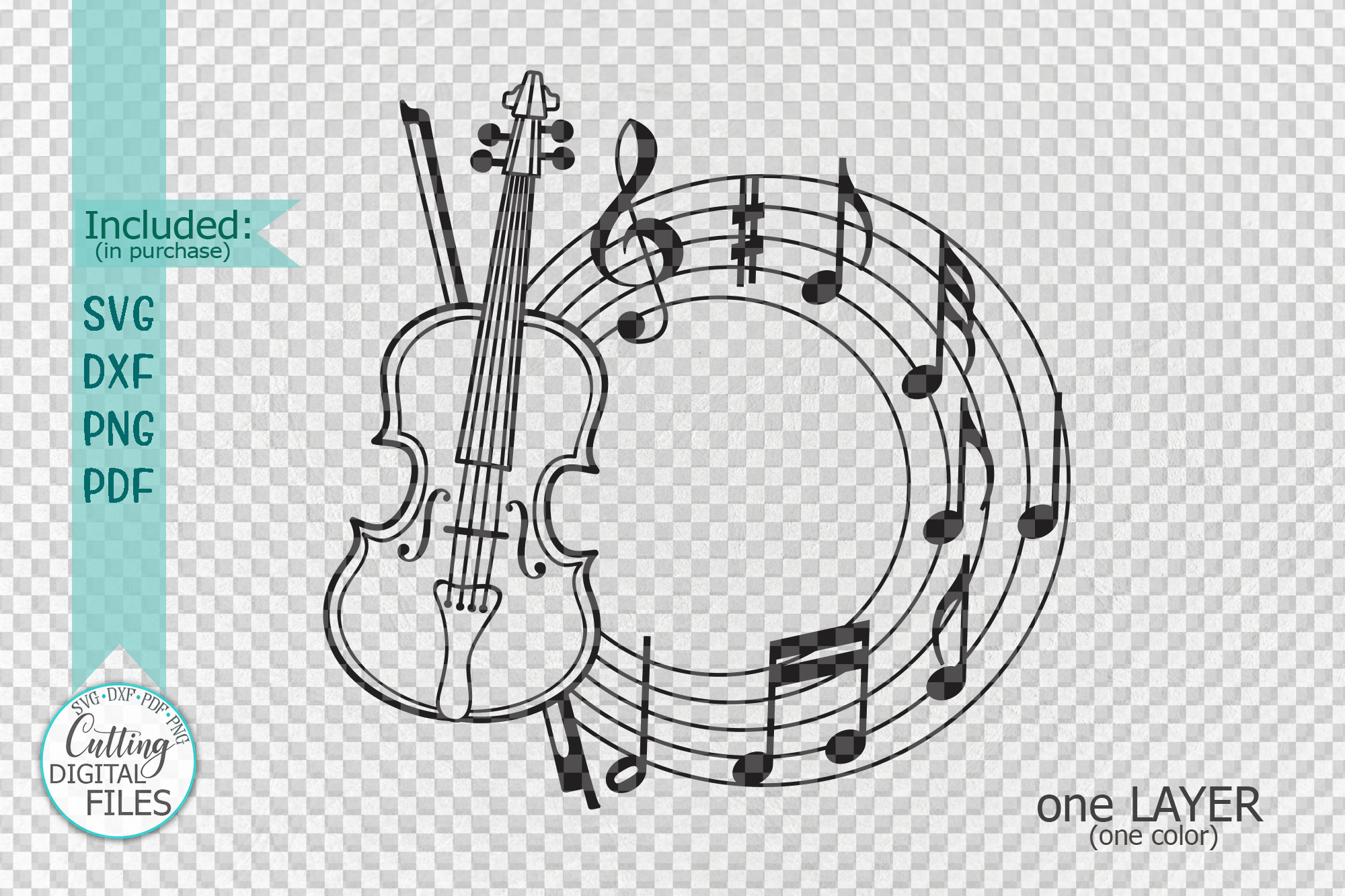 Violin frame for name with musical notes music classes svg example image 2