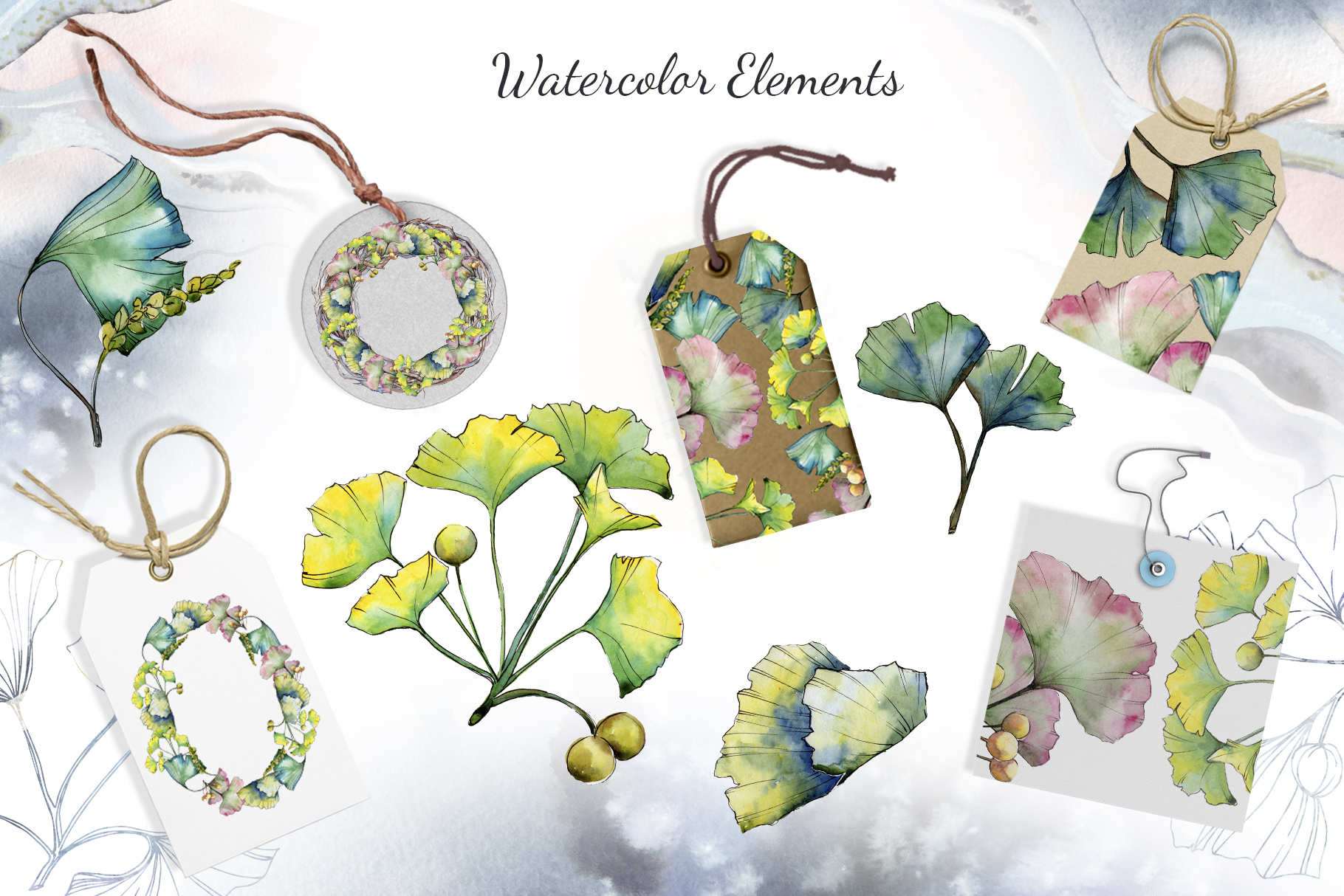 Green Ginkgo leaves Watercolor and Vector clipart png example image 4
