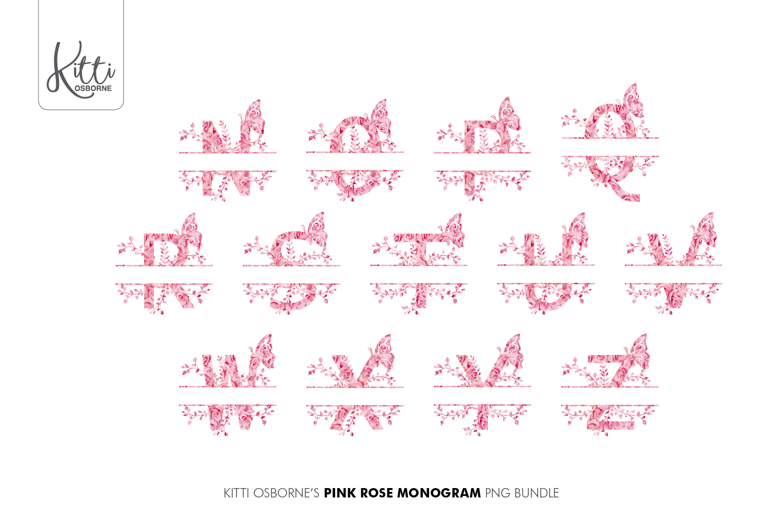 Pink Rose Alphabet PNG Bundle example image 4
