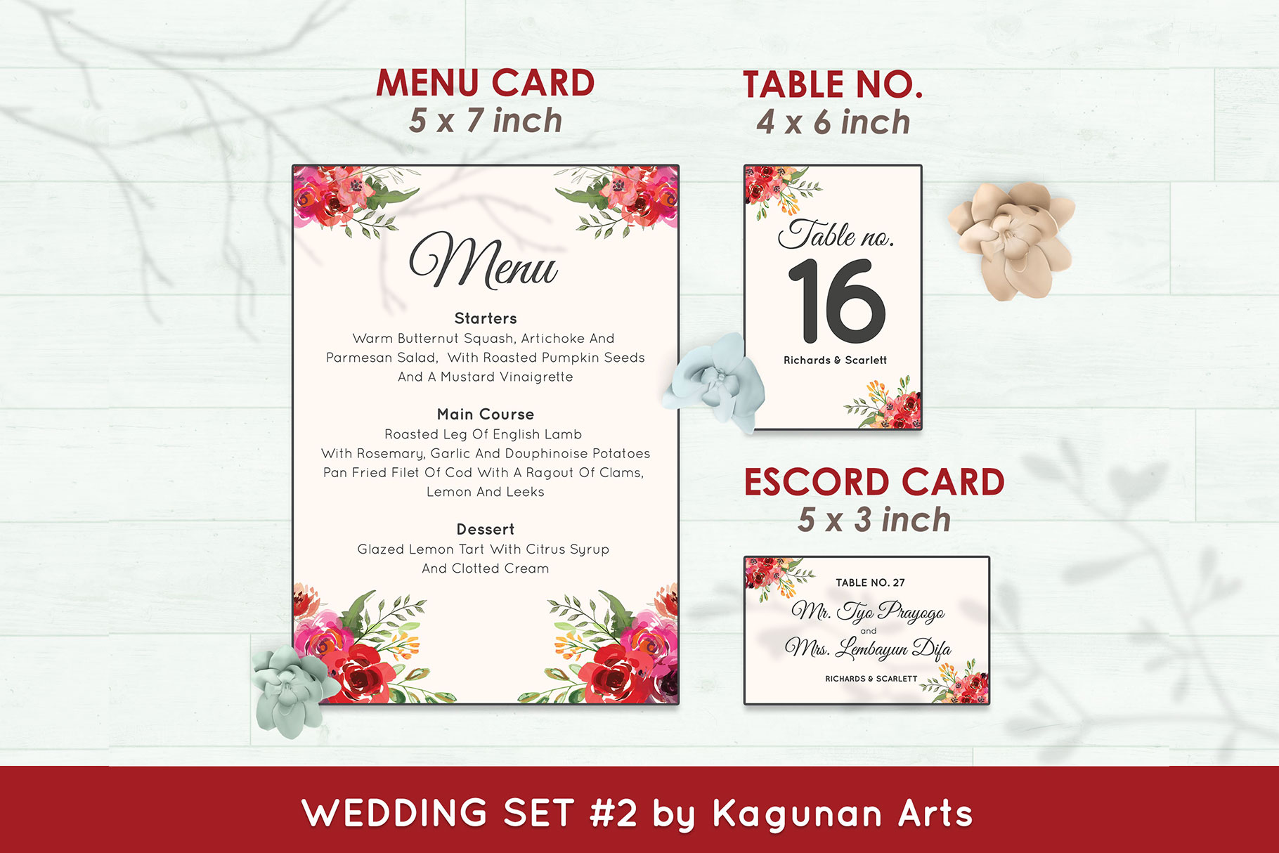 Wedding Invitation Set #2 Watercolor Floral Flower Style example image 6