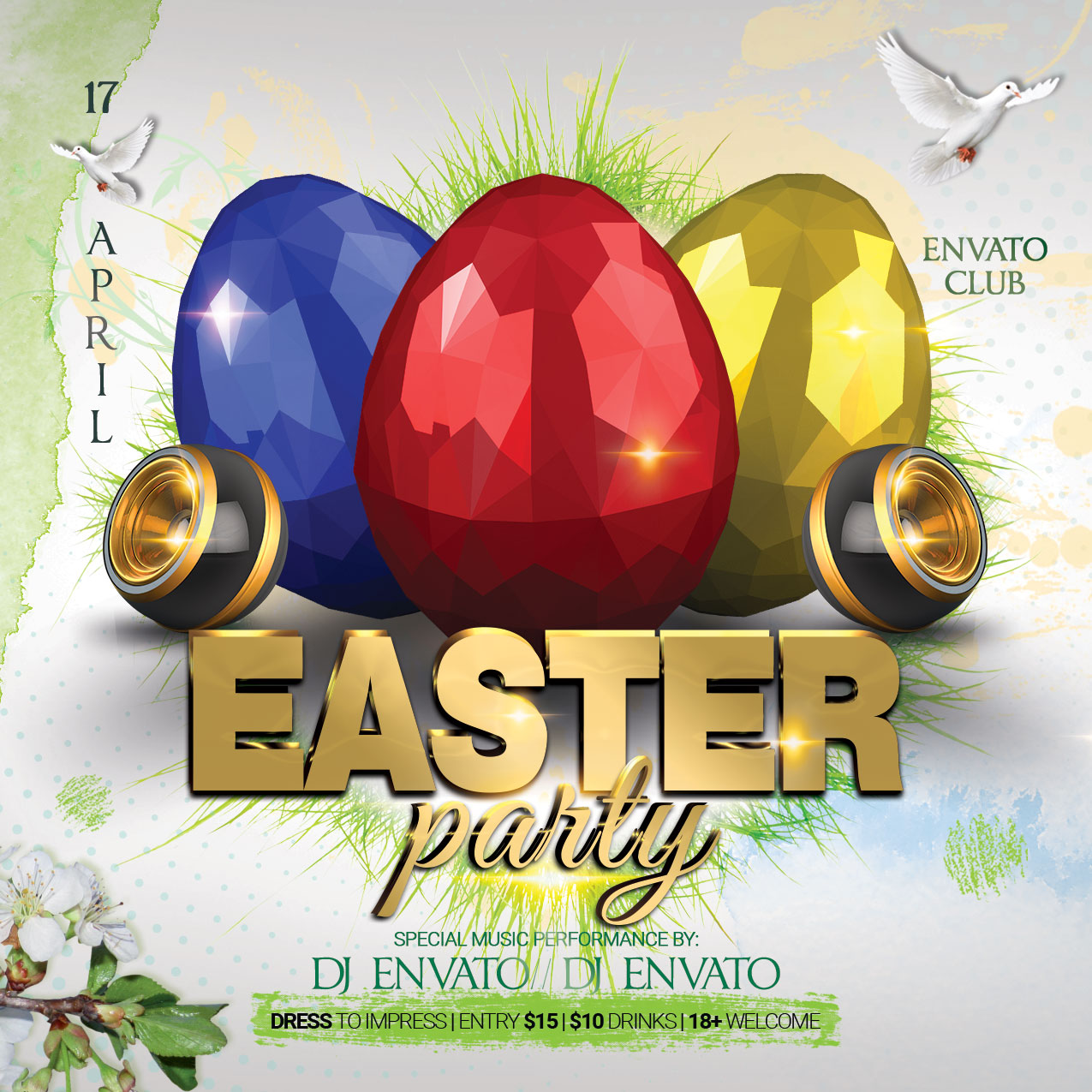 Happy Easter Party Flyer example image 4