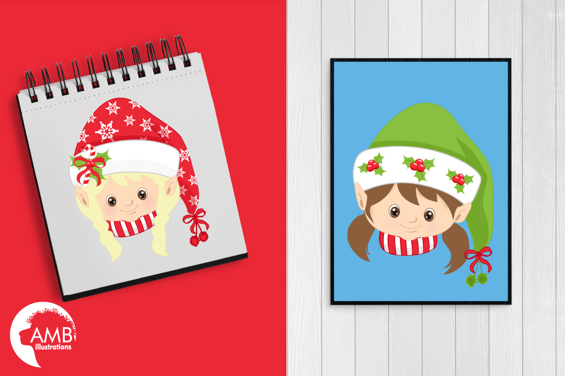 Santa, Mama Claus, elves, snowmen faces  clipart, graphics, illustrations AMB-191 example image 2