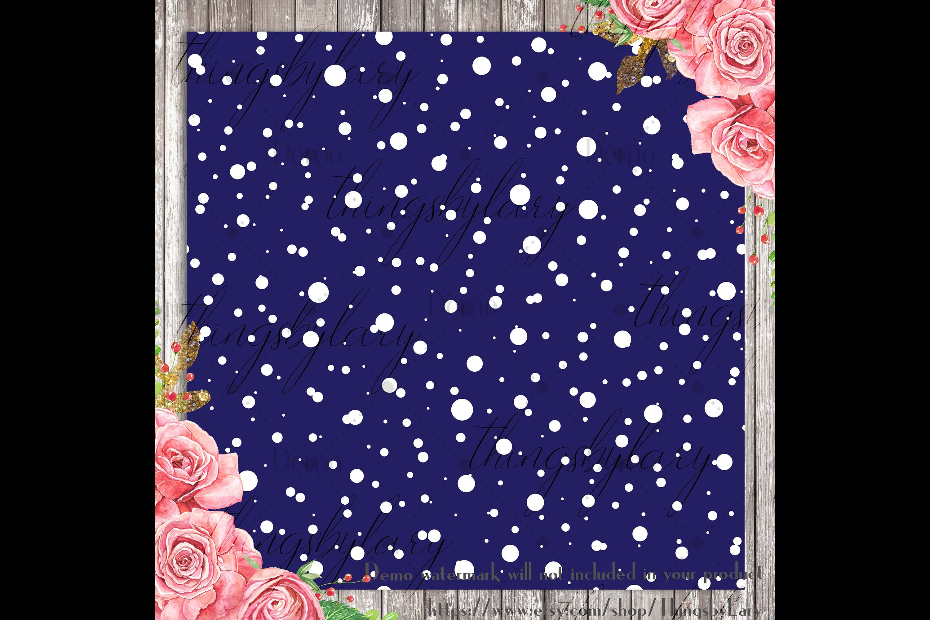 100 Seamless Falling Christmas White Snow Digital Papers example image 3