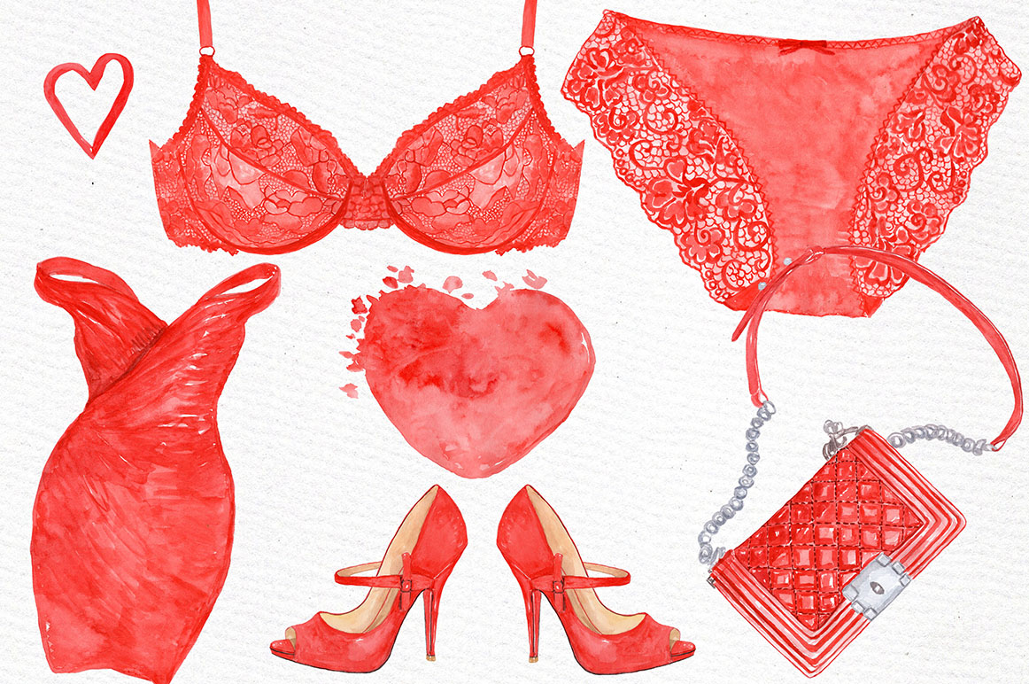Watercolor Fashion clipart example image 2