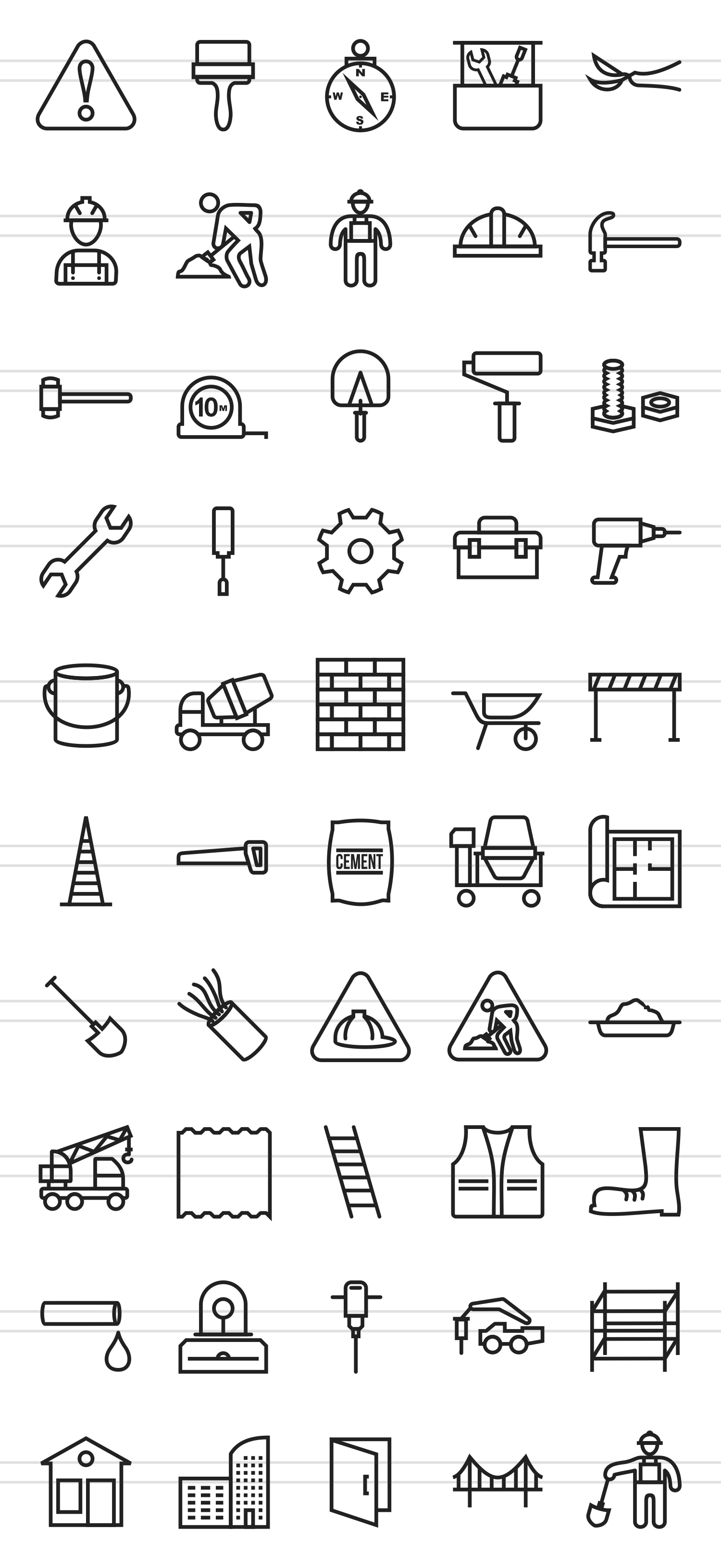50 Construction Line Icons example image 2