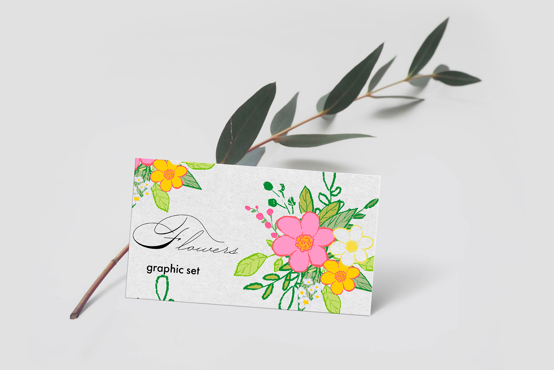 Hand draw colorful spring flowers example image 6