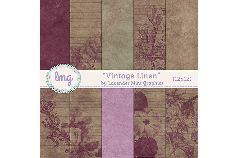 Vintage Linen Digital Papers example image 1