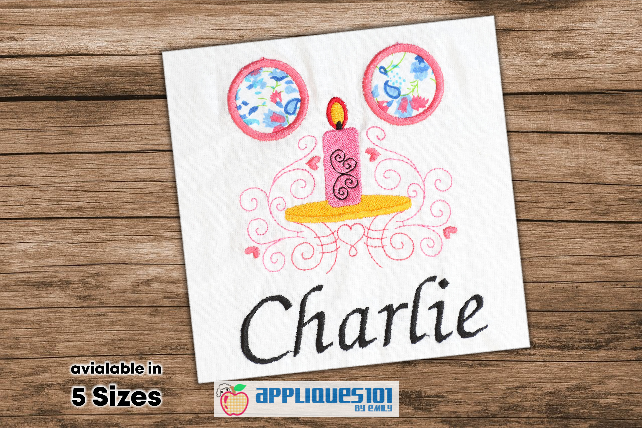 Candle Light Machine Embroidery Applique Design - Candles example image 1