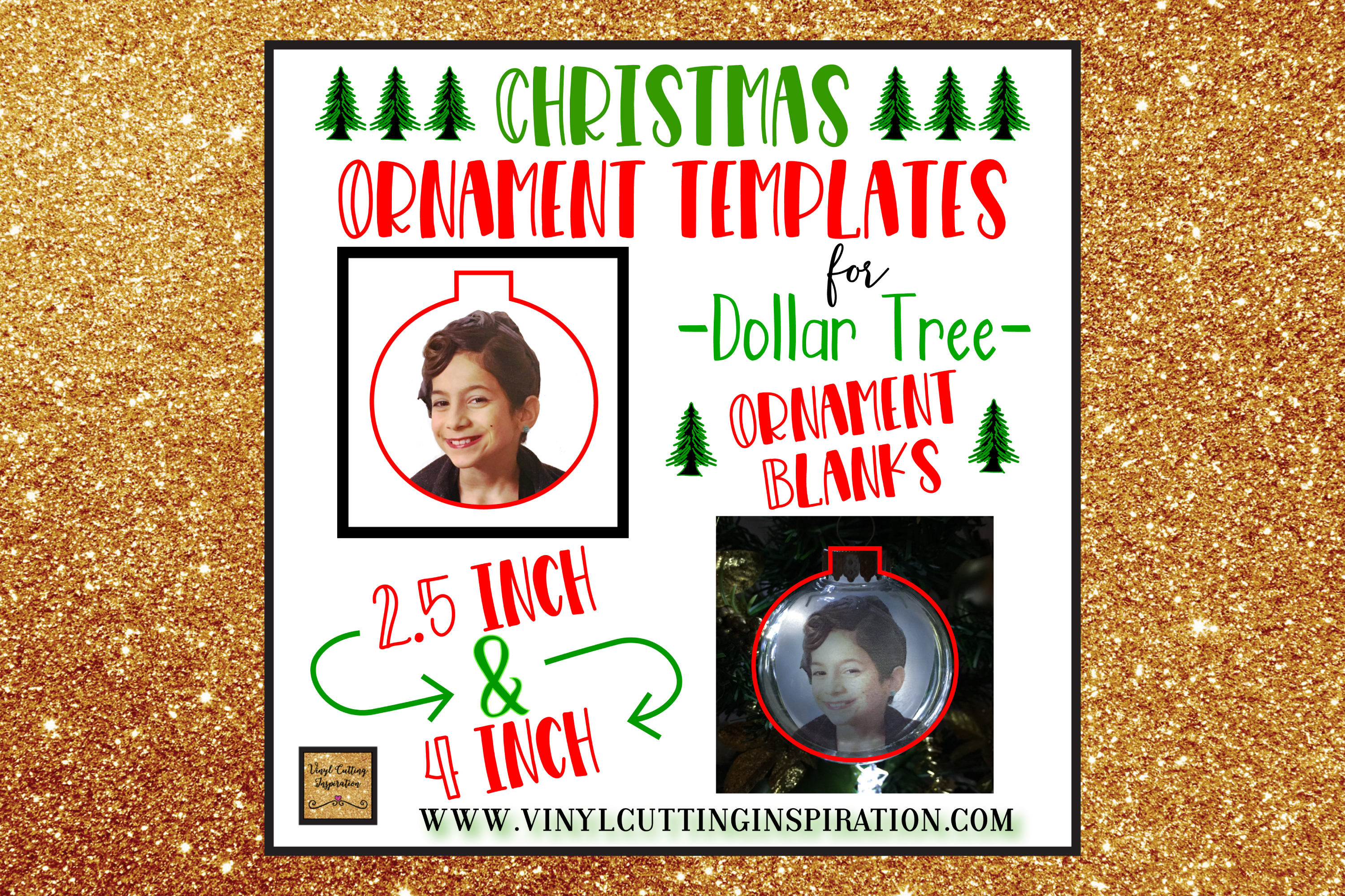 Christmas Ornament Templates for Dollar Tree Blanks! SVG Dxf example image 2