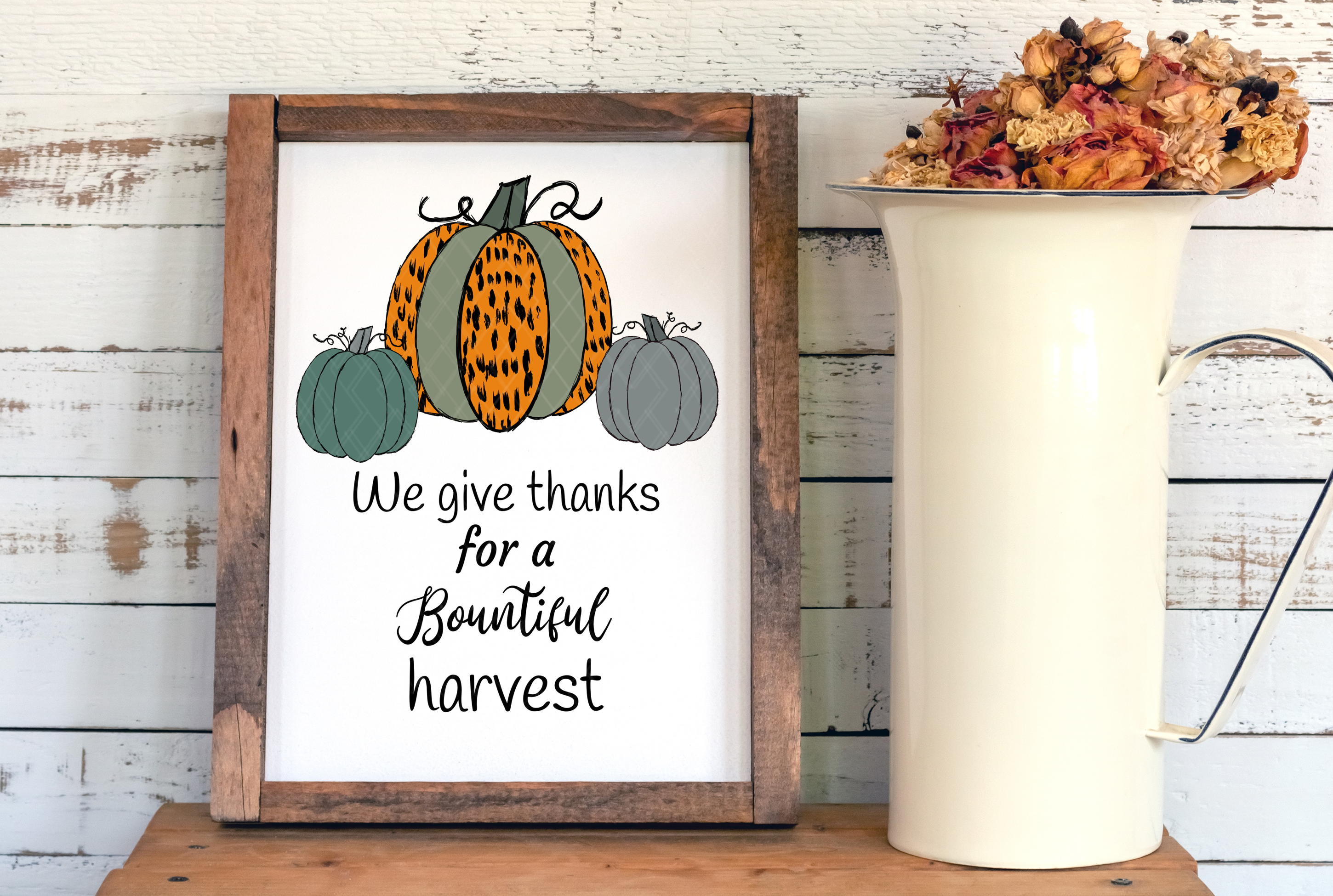 We Give Thanks Pumpkins Group Sublimation Cheetah Pattern example image 2
