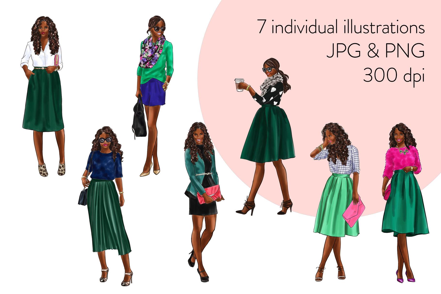 Fashion illustration clipart - Girls in Green 2 - Dark Skin example image 2