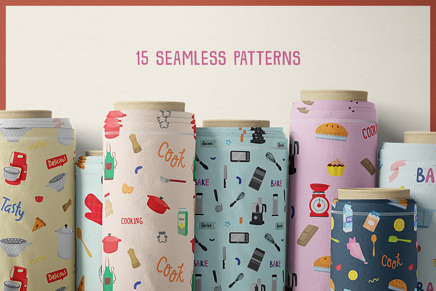 85 Baking and Cooking Vector Clipart & Seamless Patterns example image 7