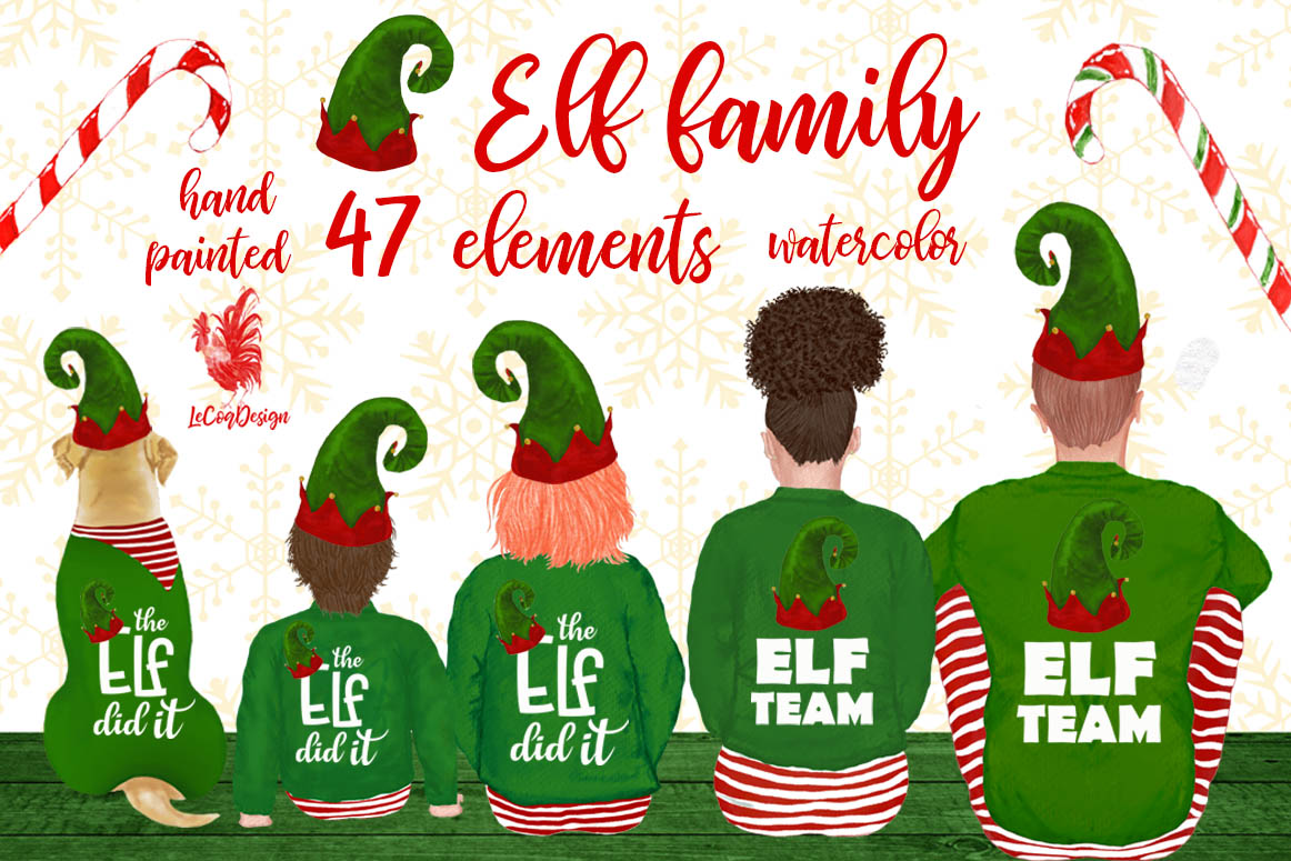 Christmas family clipart, Elf hat, Santa little helpers example image 1