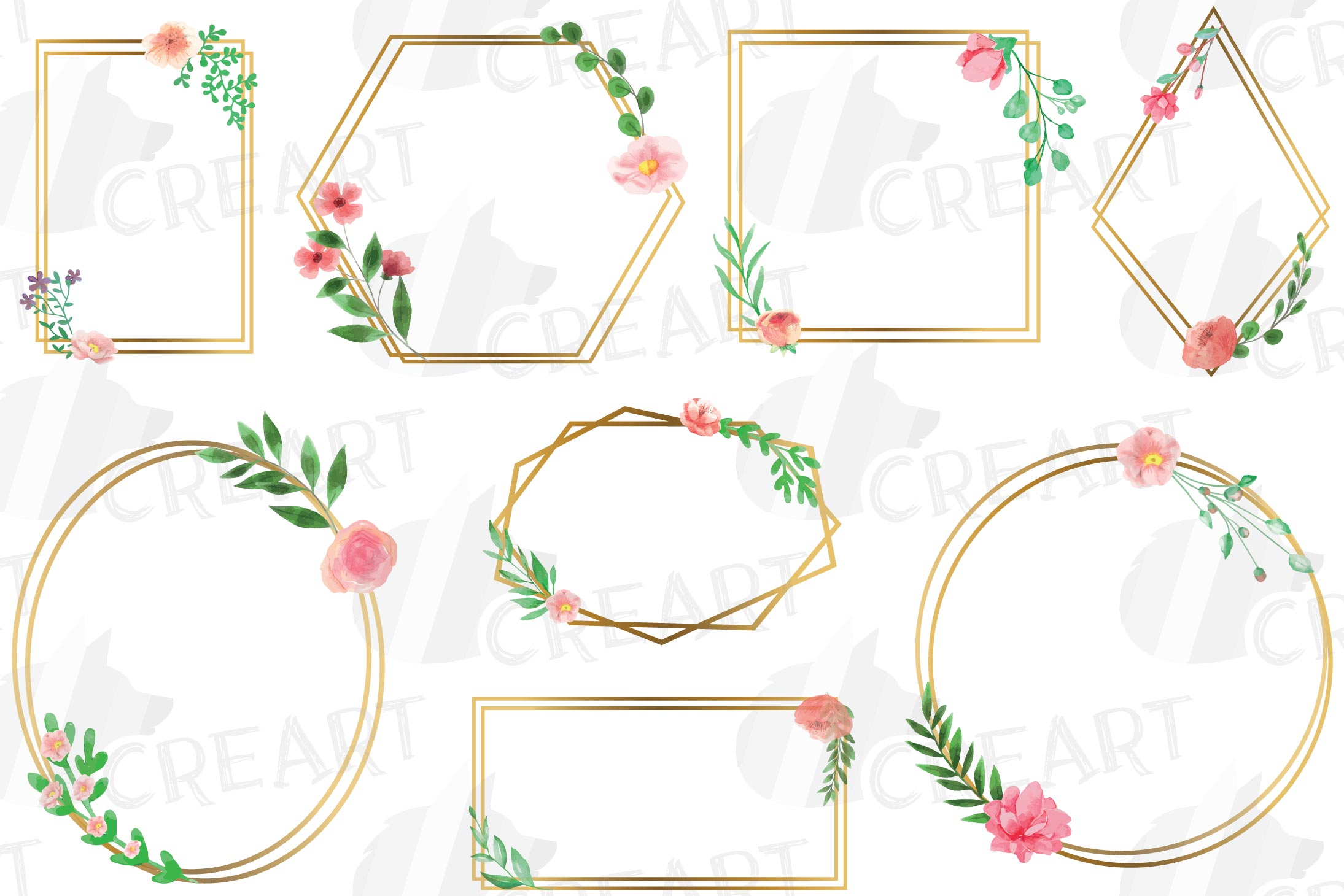 Golden Floral Frames Clip Art. Wedding geometric borders png example image 2