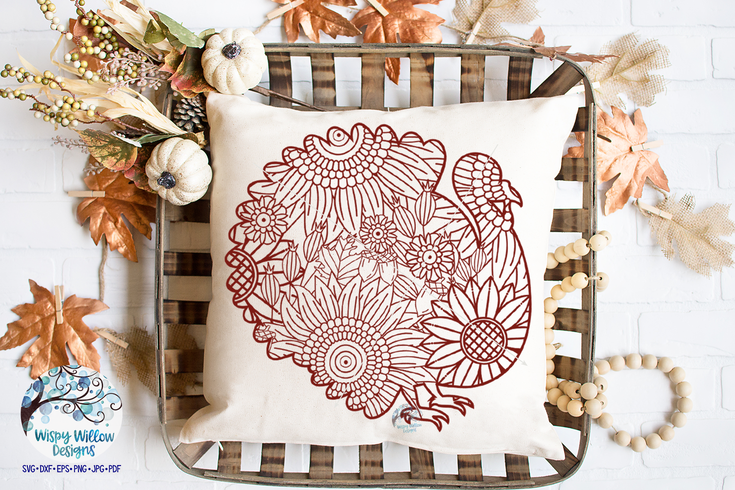 Turkey Zentangle SVG|Thanksgiving SVG | Fall SVG Cut File example image 3