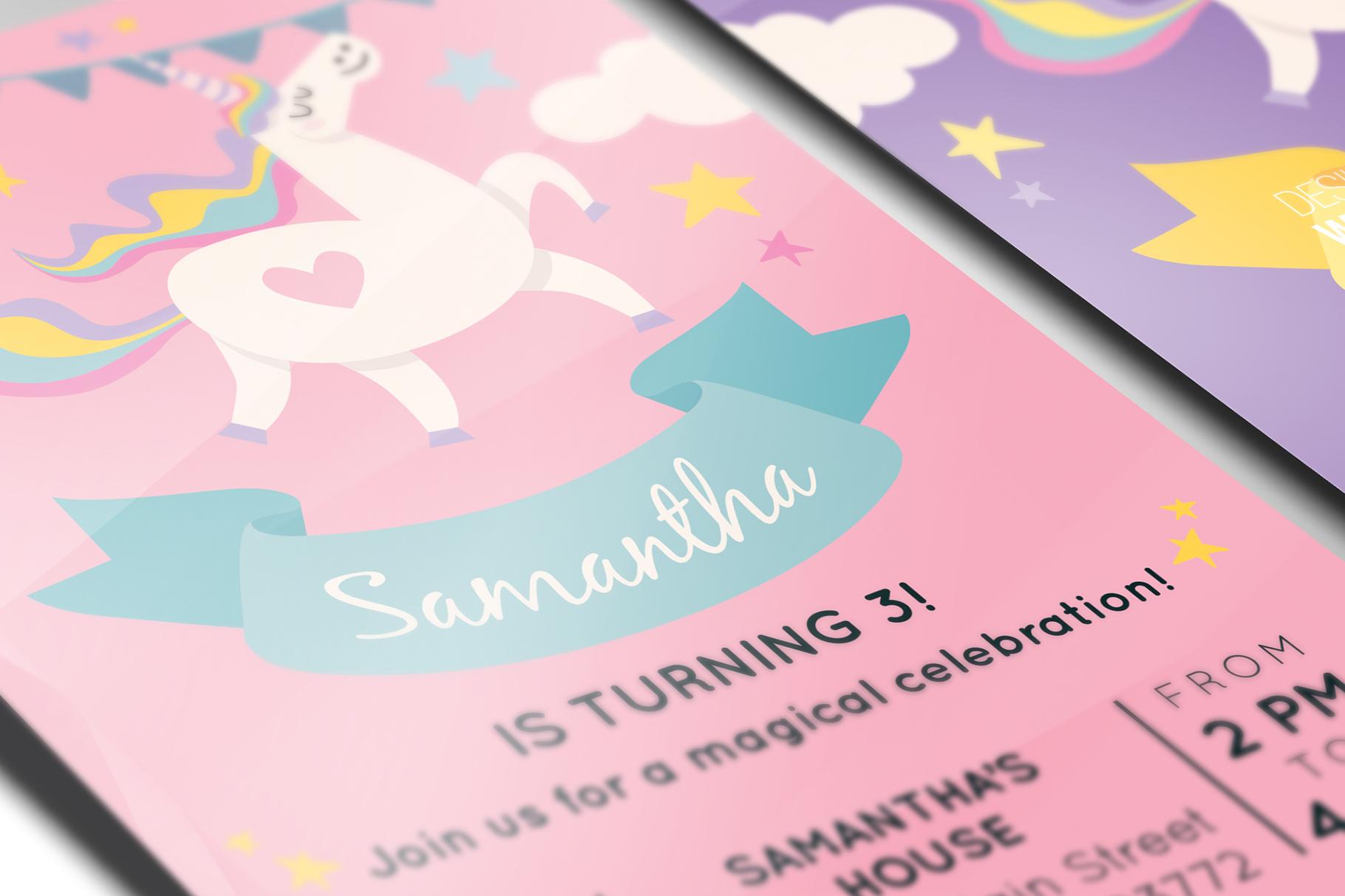 Unicorn Birthday Party Invitation example image 3