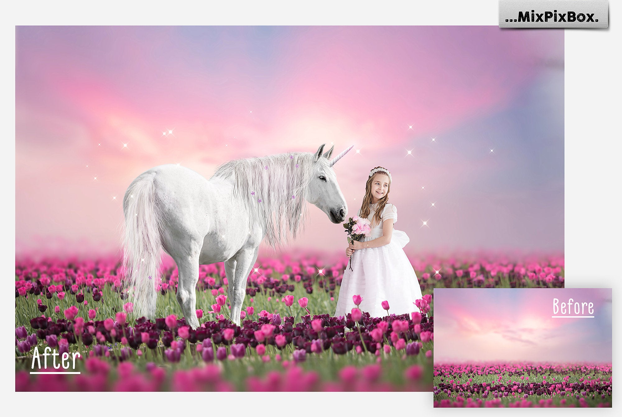 Unicorn PNG Overlays and Backdrops Pack example image 4