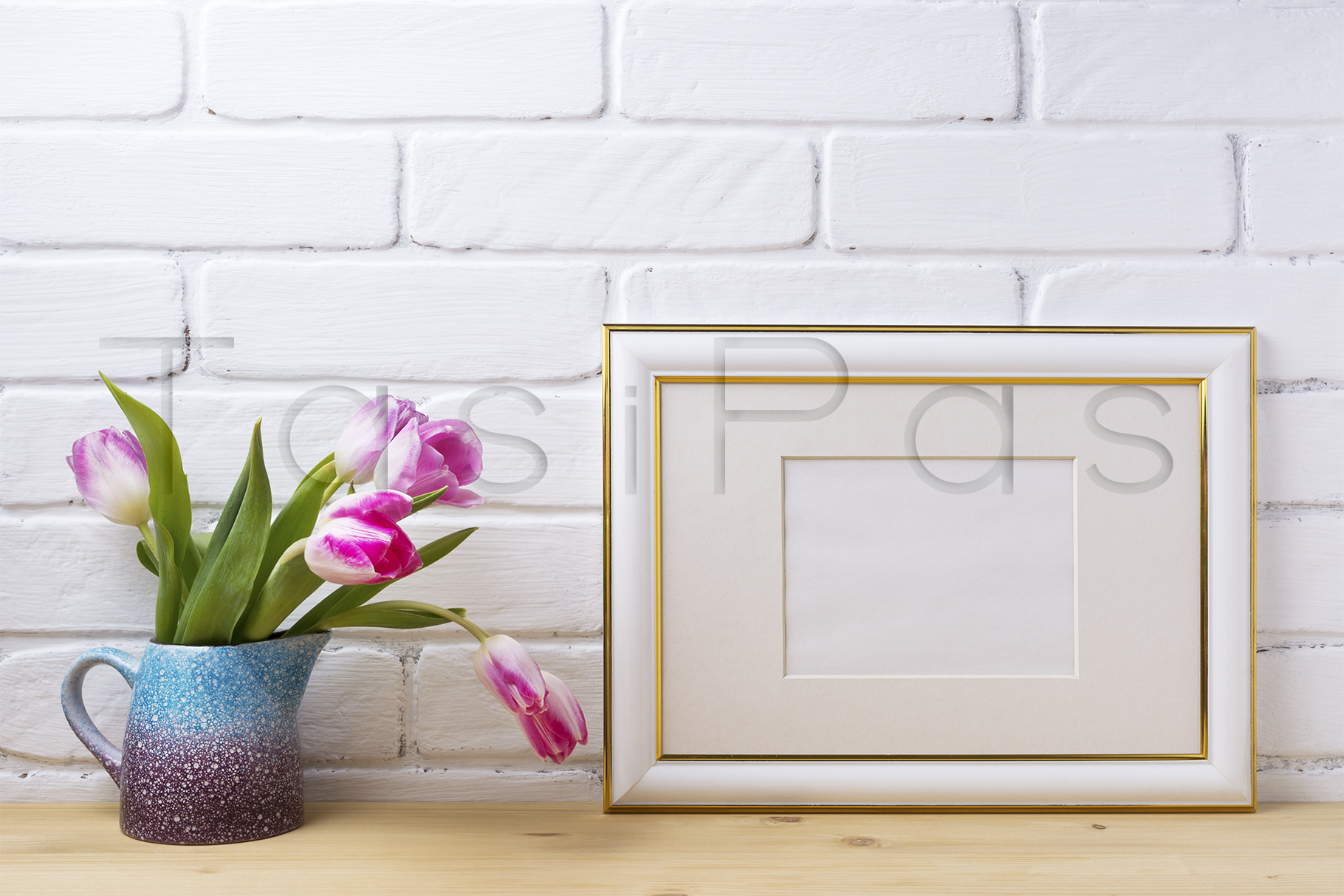 Gold decorated landscape frame mockup with magenta tulips example image 2