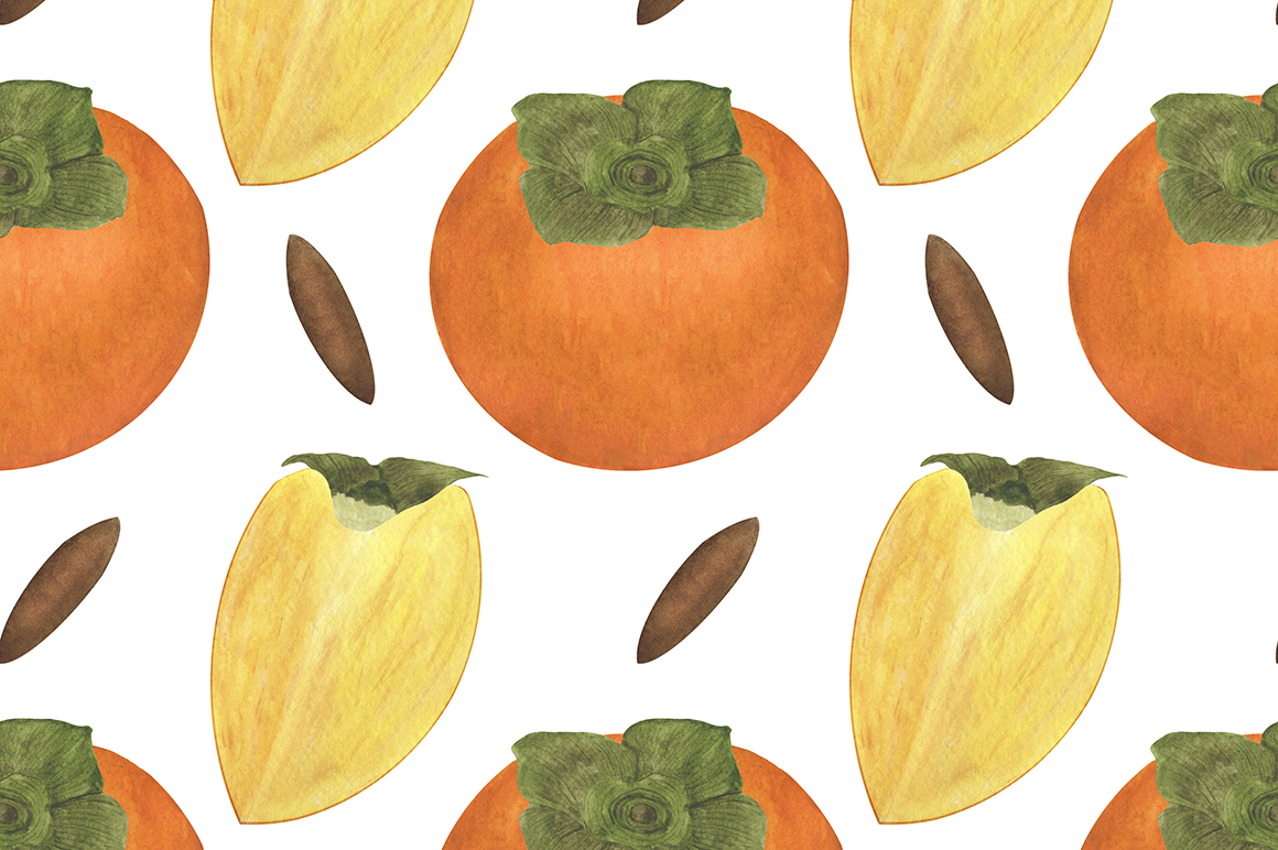 Set of persimmon watercolor illustrations. example image 9