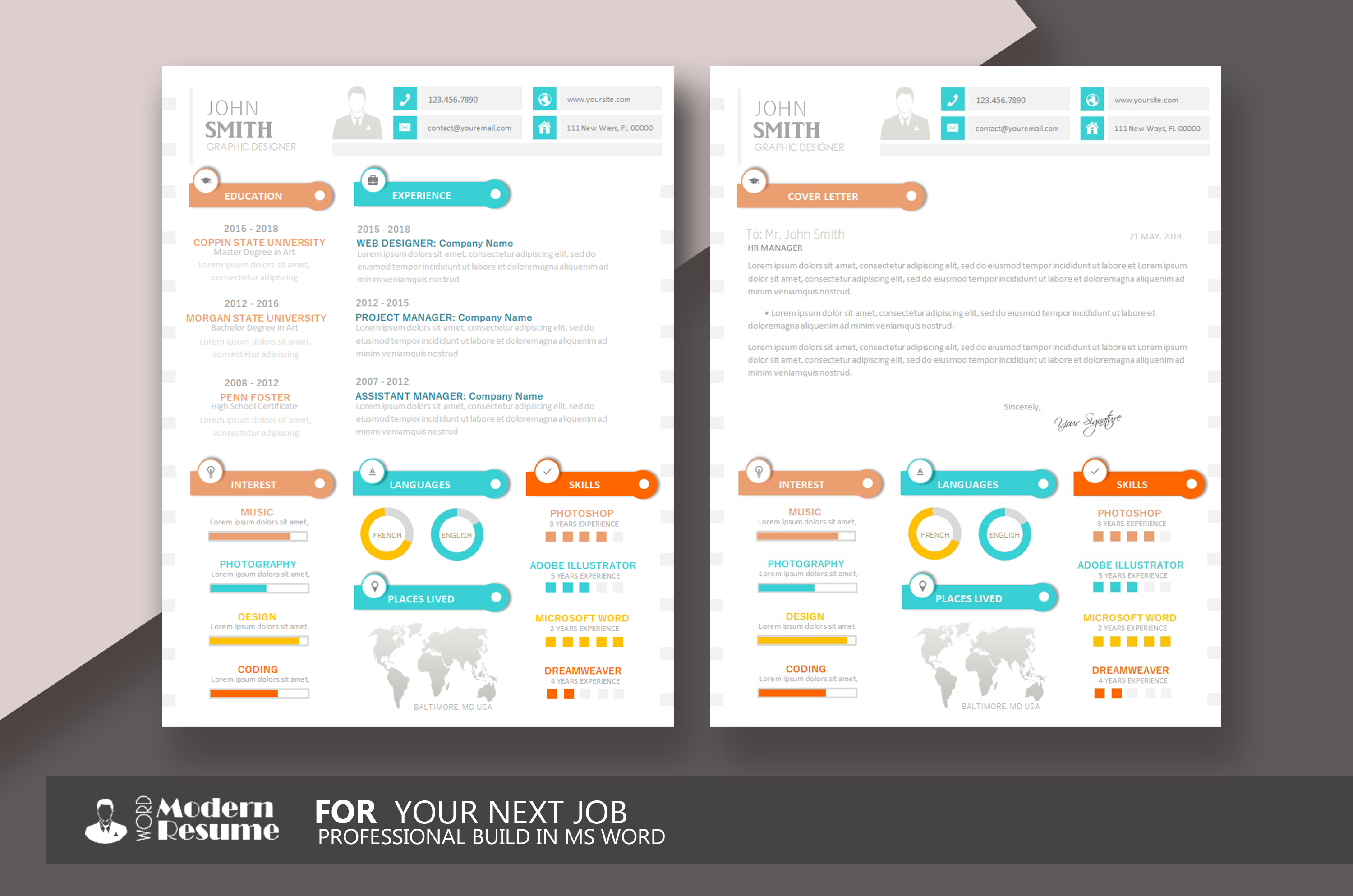 1 Page Resume Template + Cover Letter in MS Word