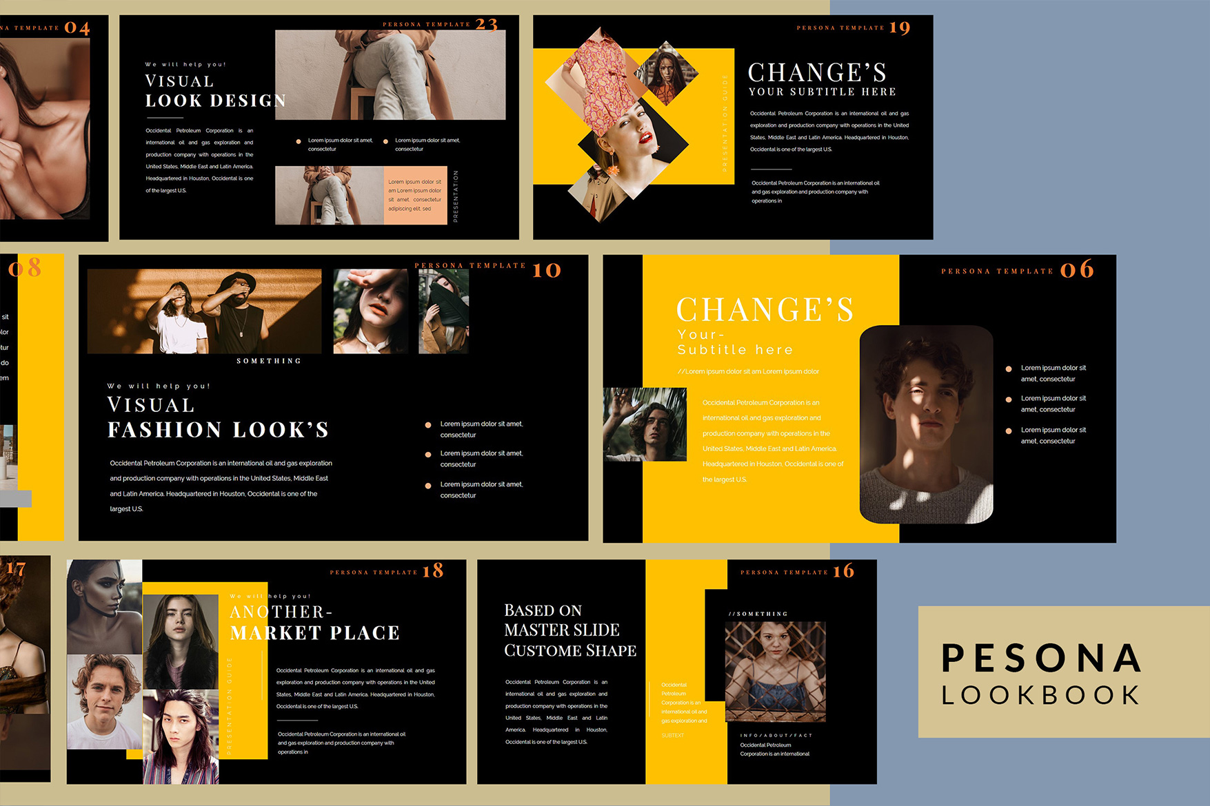 Pesona Dark Lookbook Keynote Template example image 3