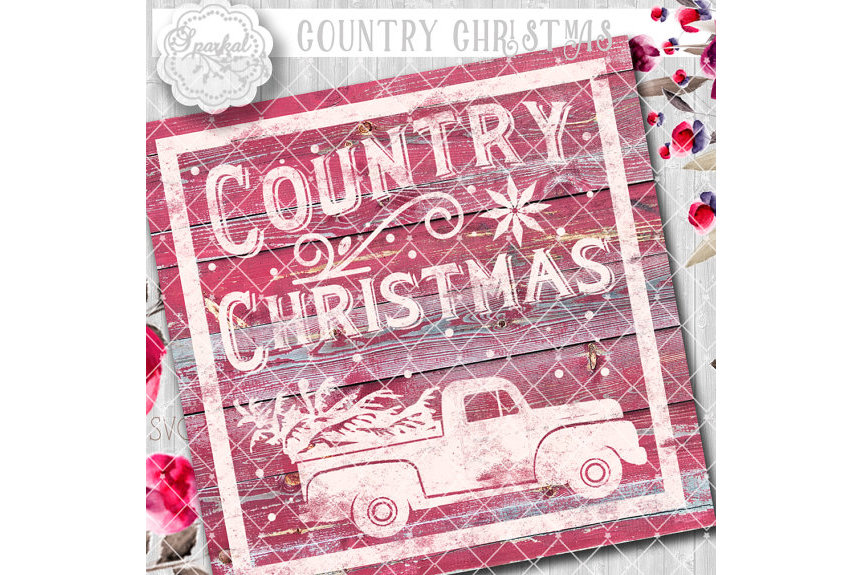Vintage COUNTRY Christmas SVG File, Cutting File, Vector Clipart Holiday Decor, Silhouette Cutting file design Available in Svg,Dxf,Eps,Png example image 3